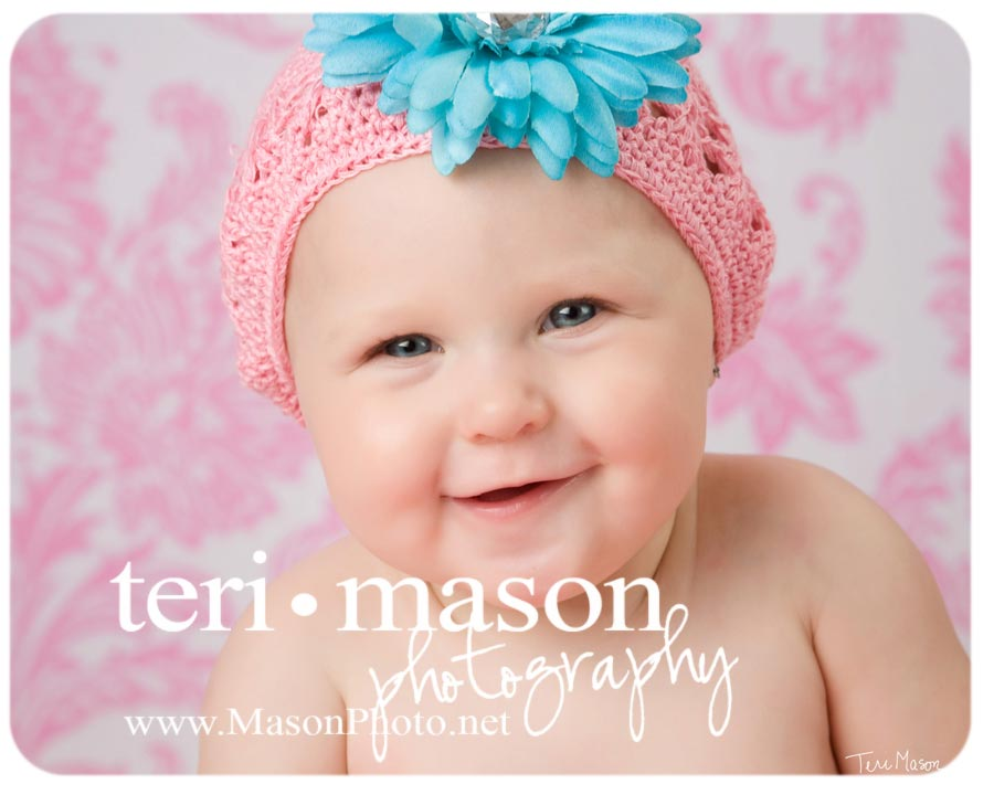 Adorable Texas Baby portrait with a flower hat