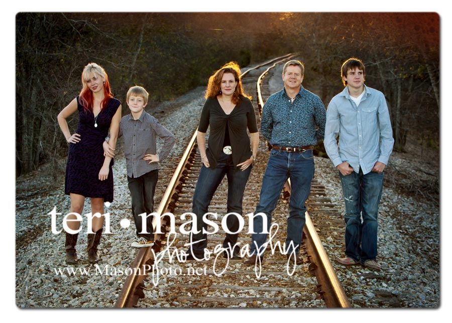 austin family photo on railroad tracks