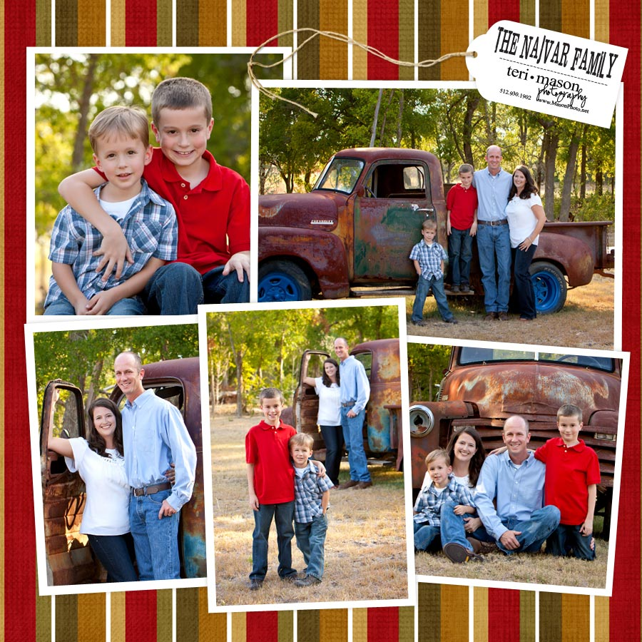 family picture on old truck outdoors