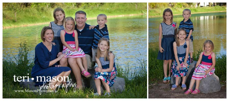 family picture outdoors by a pond