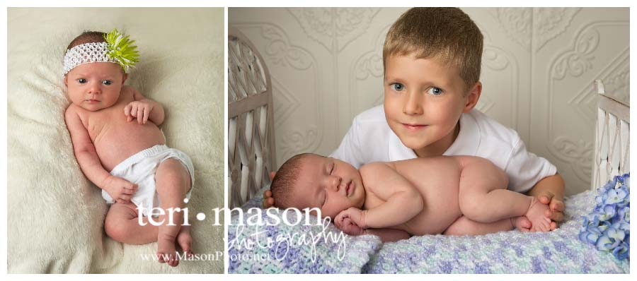 newborn girl with big brother in Austin, TX
